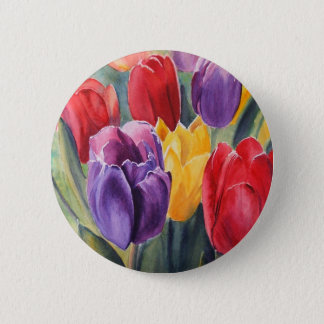 Tulip rainbow 6 cm round badge