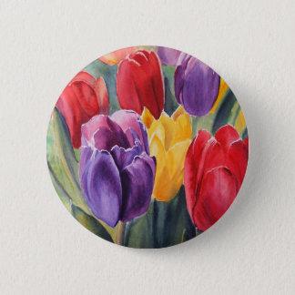 Tulip rainbow 6 cm round badge