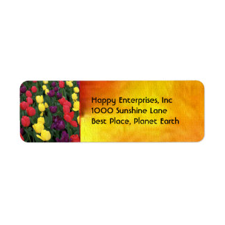 Tulip Rainbow Return Address Label