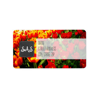 Tulip Return Address Labels / Red and Yellow