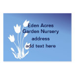 Tulip Silhouette, White on Blue Customisable Pack Of Chubby Business Cards