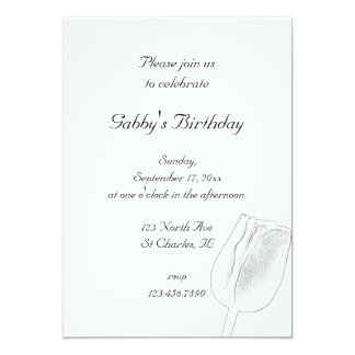 Tulip Sketch Spring Birthday Party Invitation