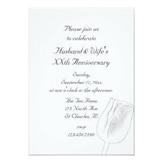Tulip Sketch Wedding Anniversary Party Invitation