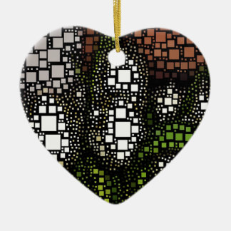 Tulip Squares Ceramic Heart Decoration