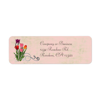 Tulip swirls pastel return address labels