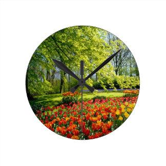 Tulip time, gardens at Keukenhof Round Clock