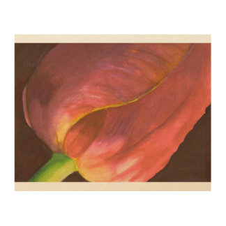 tulip watercolor close_up wood wall decor