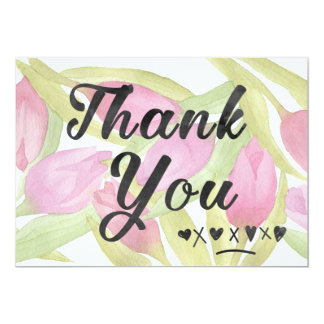 Tulip Watercolor Flowers Thank You card