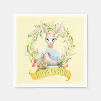 Tulip Wreath and Rabbit Happy Easter Disposable Napkins