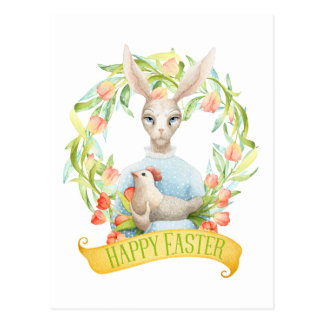Tulip Wreath and Rabbit Happy Easter Postcard