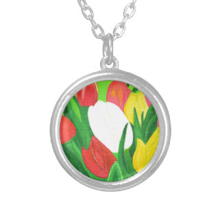 Tulips2 Silver Plated Necklace