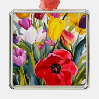 Tulips 2007 Silver-Colored square decoration