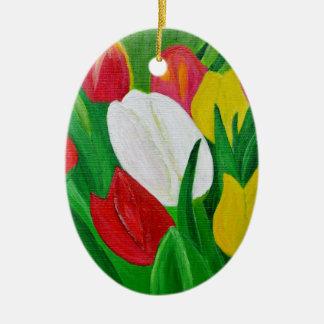 Tulips 2a ceramic oval decoration