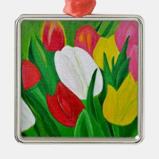 Tulips 2a Silver-Colored square decoration