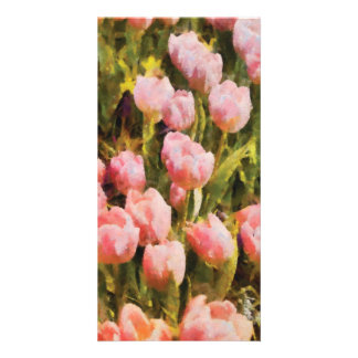 Tulips - A field of pink Picture Card