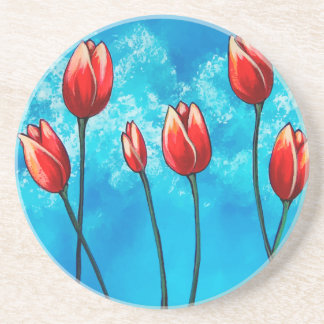Tulips Against the Sky Floral Art Coaster