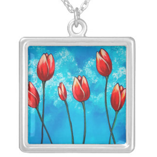 Tulips Against the Sky Floral Pendant Necklace