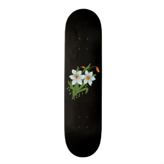 Tulips and Daffodils Flowers Black Background Skate Board Deck