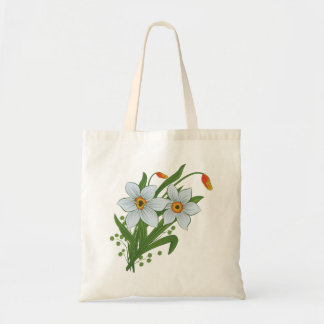 Tulips and Daffodils Flowers Budget Tote Bag