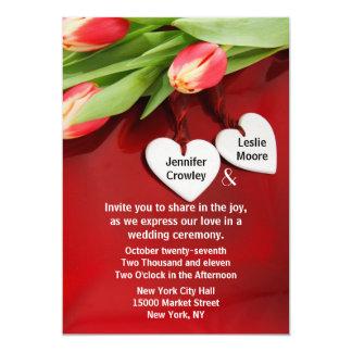 Tulips and Hearts Wedding Invitation