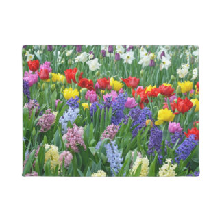 Tulips and hyacinth flowers doormat