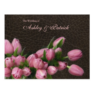 Tulips and Leather Wedding Program Postcard