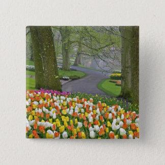 Tulips and roadway, Keukenhof Gardens, Lisse, 15 Cm Square Badge