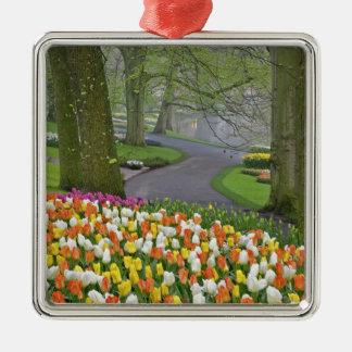 Tulips and roadway, Keukenhof Gardens, Lisse, Christmas Ornament