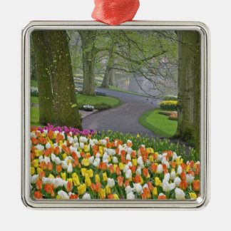 Tulips and roadway, Keukenhof Gardens, Lisse, Silver-Colored Square Decoration