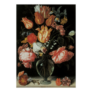 Tulips and Roses Floral Arrangement Poster