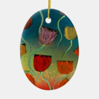 Tulips ascending ceramic oval decoration