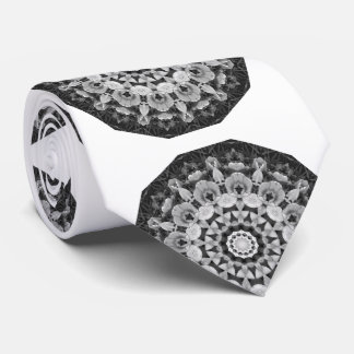Tulips Black 01, white and gray, mandala-style Tie