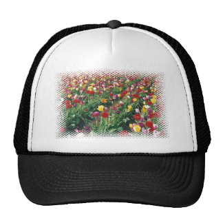 Tulips Black Halftone Design Hat