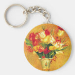 Tulips by Pierre Renoir, Vintage Impressionism Art Basic Round Button Key Ring