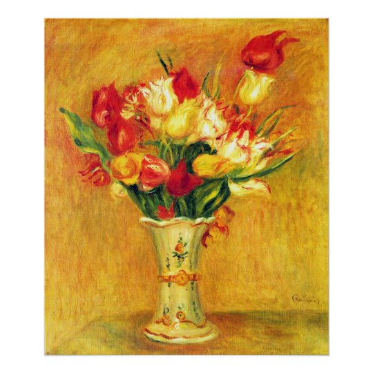 Tulips by Pierre Renoir, Vintage Impressionism Art Poster