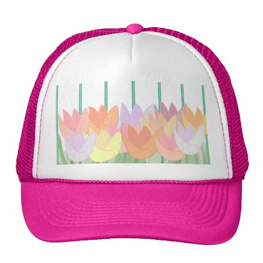 Tulips By The Picket Fence Hats