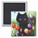 Tulips Cute Black Cat Butterfly Creationarts