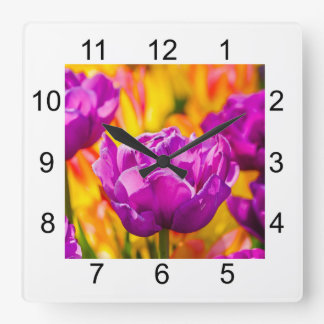 Tulips Enchanting Violet Square Wall Clock