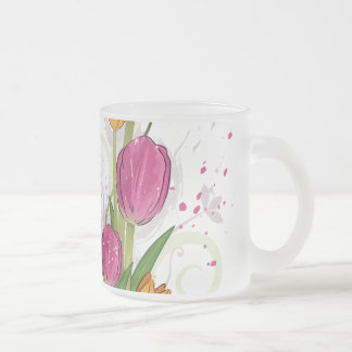 Tulips Floral Design Frosted Glass Mug