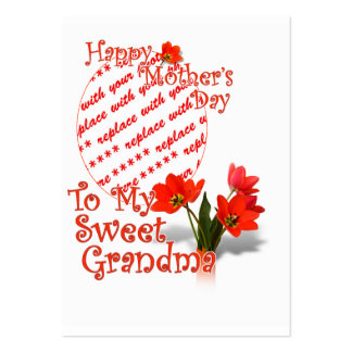 Tulips for Mother s Day For Grandma Photo Frame Business Card Template