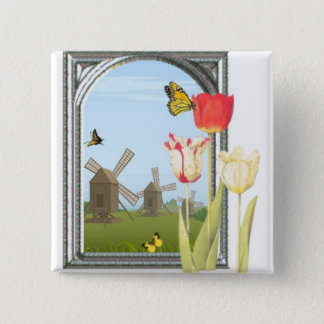 Tulips from Amsterdam 15 Cm Square Badge