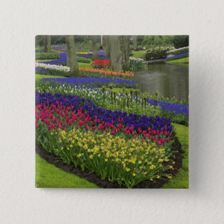 Tulips, Grape Hyacinth, and daffodils, 15 Cm Square Badge