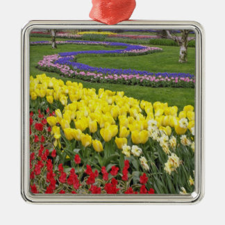 Tulips, Grape Hyacinth, and Daffodils, Silver-Colored Square Decoration