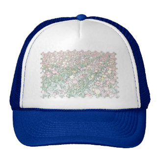 Tulips Hand Drawing Stamp Blue Hat