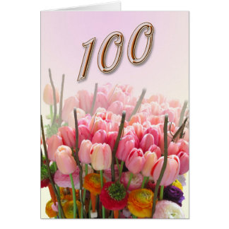 tulips Happy 100th Birthday Greeting Card