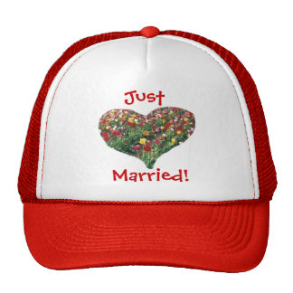Tulips Heart Just Married Hat