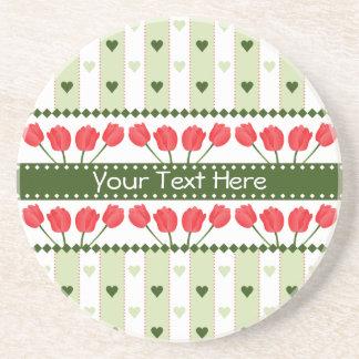 Tulips & Hearts coaster, customize Coasters
