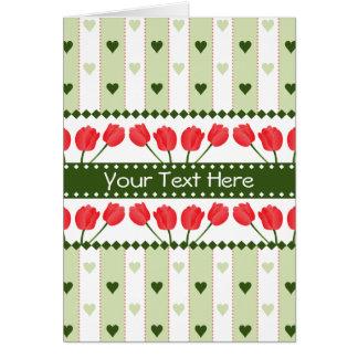 Tulips & Hearts greeting card, customize Card