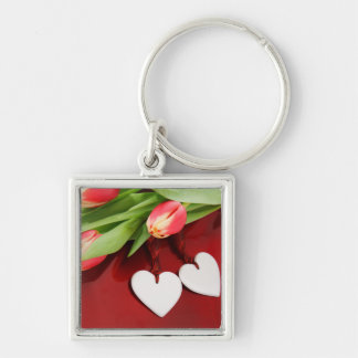 Tulips & Hearts key chain