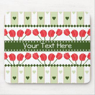 Tulips & Hearts mousepad, customize Mouse Mat